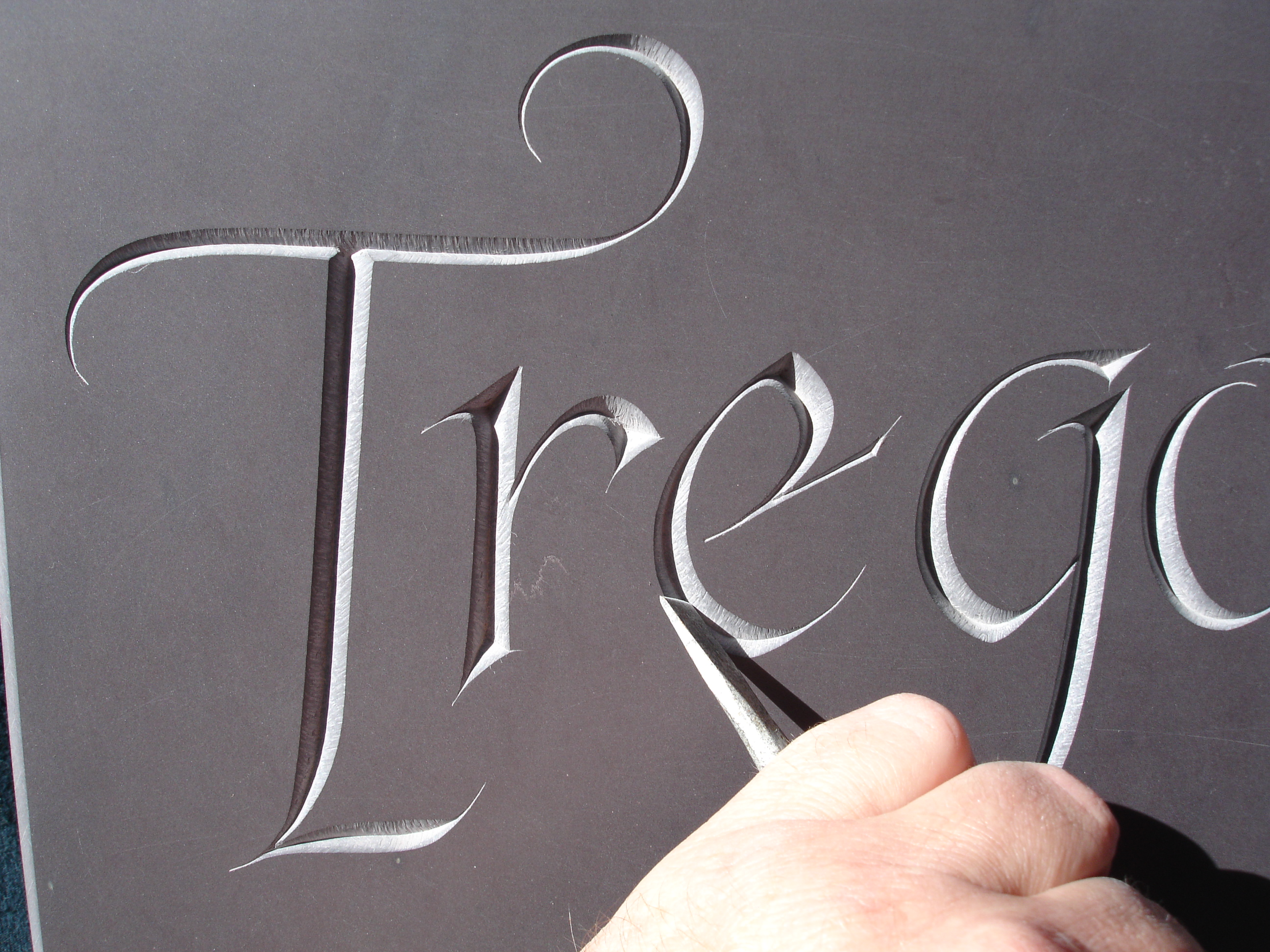 Hand Carving Letters in Welsh Slate