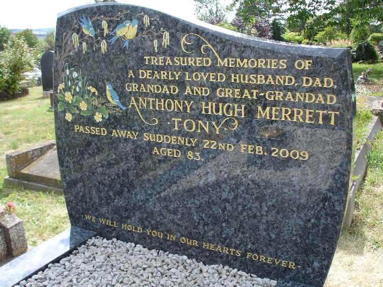 Blue Pearl granite memorial stone